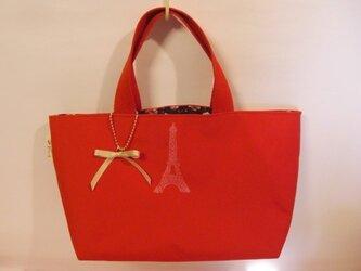 エッフェル塔スタンプのミニ帆布バッグ(red)の画像