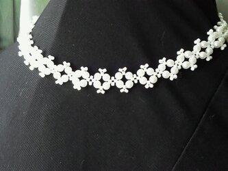 パールビーズのピコットネックレス・白の画像