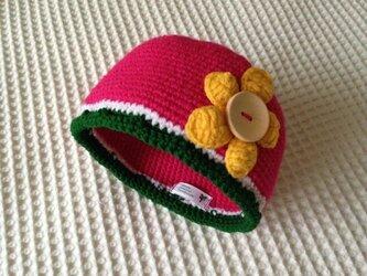 フルーツ帽(スイカ)の画像