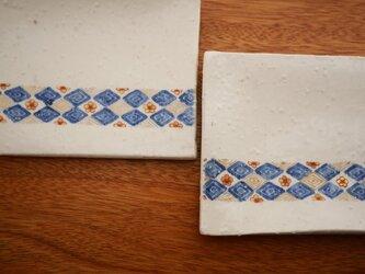 小花紋様 四角皿 2枚組の画像