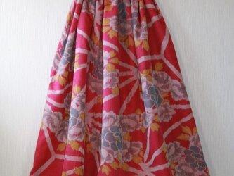 絹 牡丹 ピンク ギャザーゴムスカート Fサイズ の画像