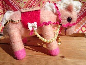 ピンク色のポニーの画像