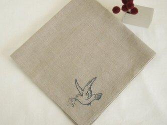 小鳥のリネンハンカチ(Flax+Blue)の画像
