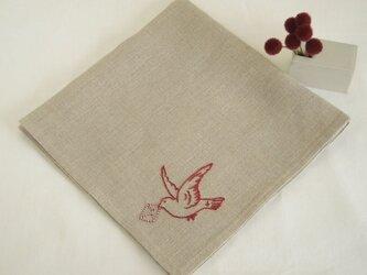 小鳥のリネンハンカチ(Flax+Red)の画像