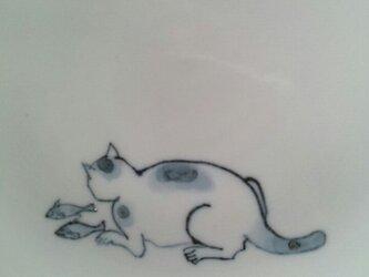 染付5寸猫皿8の画像