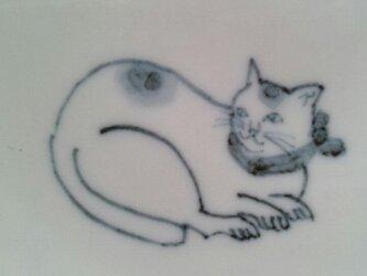 染付5寸猫皿10の画像