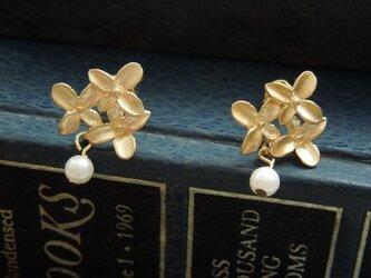Luteruピアス [小花のブーケ] マットゴールドの画像