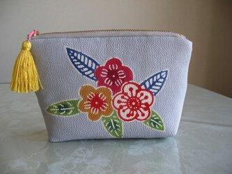 型染め着物地のポーチ☆日本刺繍糸のタッセル付の画像