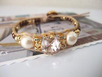 *bijou×pink cotton pearl*ブレスの画像