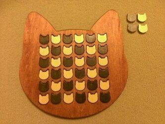 ☆受注製作☆木製ネコ型リバーシ☆チェリーの画像