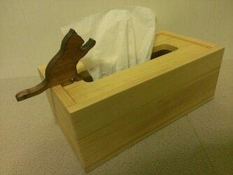 ☆受注製作☆猫が遊ぶ木製ティッシュケース☆ナチュラルの画像
