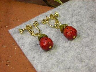蛇(ヘビ)苺(イチゴ)のイヤリングの画像