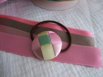 リボン編みの髪ゴム ピンクの画像