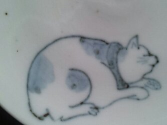 染付4寸猫皿 2の画像