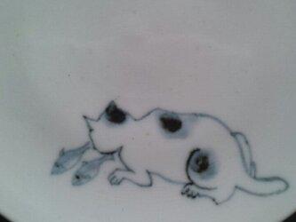 染付4寸猫皿 6の画像