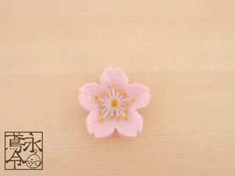 帯留 乳白ピンクの桜の花の画像
