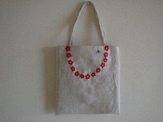 おさんぽバッグ 赤い花輪の画像