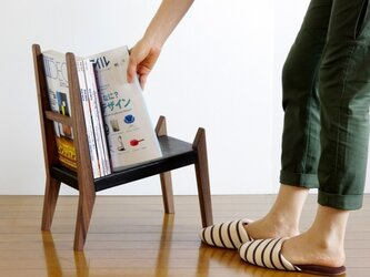 【book rest chair】マガジンラック/革張りの画像