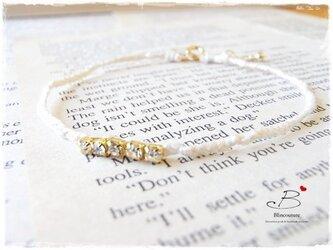 B094刺繍糸の四つ編みブレスレット-white-の画像
