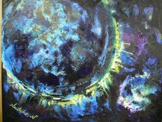 絵画 インテリア キャンバス画 油絵 cosmos 青い惑星の画像