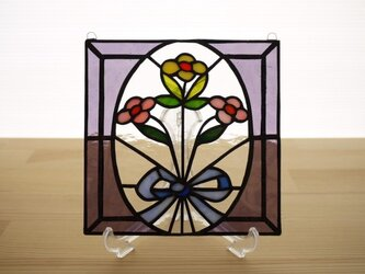 [ご予約分] ステンドグラス ミニパネル 花束 15cmの画像