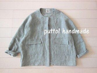 ブルーグレーの上質リネン×ボーダー☆春のジャケットの画像