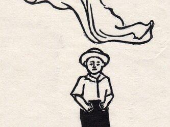 白黒木版画 風の画像