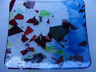ガラスプレート(午後の散歩)ブルーの画像