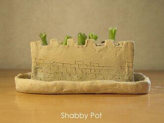 城壁の植木鉢の画像