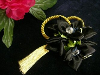 ヘッドドレス(ブラックフラワー)の画像