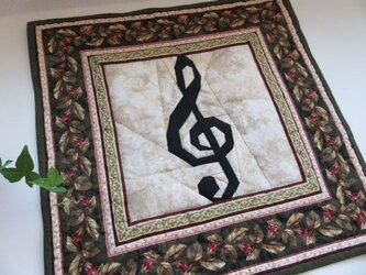 【Music Quilt】ト音記号のミニタペストリーの画像
