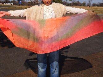 国産シルク100%手描き染めストール -Pink3-の画像