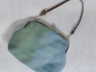 【soldout】草木染&手縫/がま口ミニバッグ/青緑×小花柄の画像