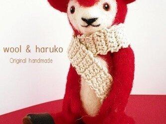 羊毛テディベア、イチゴ色のクマさん。★定型外送料無料★の画像