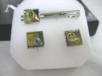 時計パーツのカフス&タイピンセットの画像