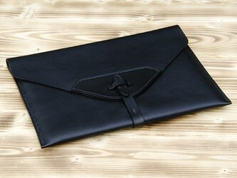 ハンドメイドiPad2・新しいiPad用レザーケース(黒)の画像