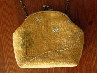 手刺繍・がまぐちバッグ(冬の森)・malcoさまオーダー品の画像
