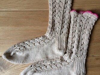 手編み靴下Organic cotton100% ベージュ×ピンクの画像