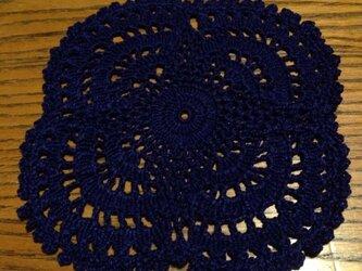 アンティーク風 手編み レース コースター  紺の画像