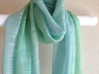 春の手染めシルクストール ベビーブルー×グリーンの画像