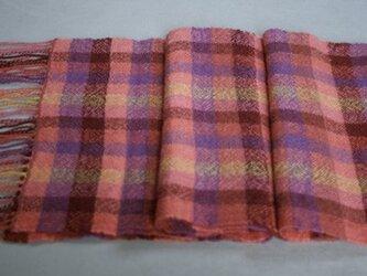 手織りのマフラー(格子柄)の画像