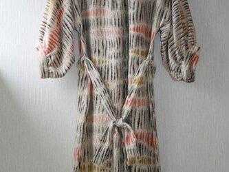 絹 縮緬 木肌模様 ゆったりギャザーワンピース MLサイズの画像