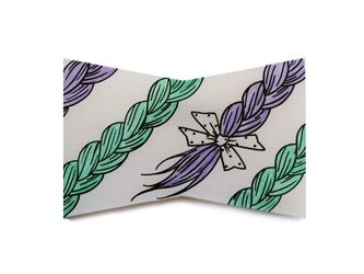 おさげリボンブローチ(Purple&Green)の画像