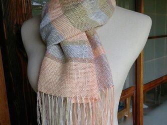 手織り・コットン・ボーダーストールの画像