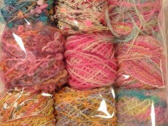 引き揃え・染め糸いろいろ100gセット⑨の画像