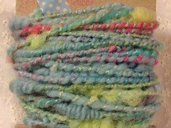アートヤーン(手紡ぎ糸)20g水色系の画像