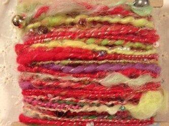 アートヤーン(手紡ぎ糸)22g赤系×ビーズの画像