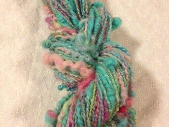 アートヤーン(手紡ぎ糸)約86g74m ミント系の画像