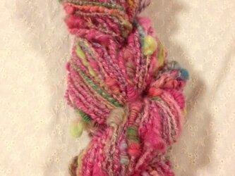 アートヤーン(手紡ぎ糸)約94g81m ピンク系の画像
