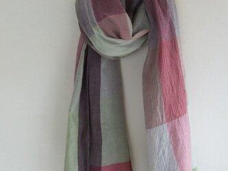 手紡ぎ 手織り ストール 15の画像